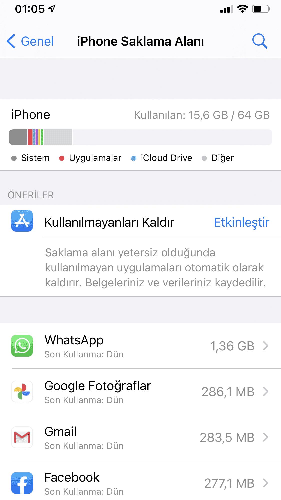 iphoneda yer açmak